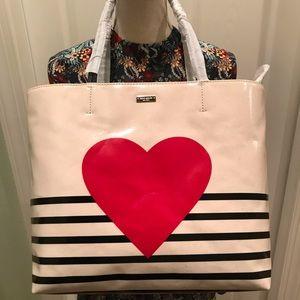 Kate Spade Yours Truly Heart Stripe Tote handbag